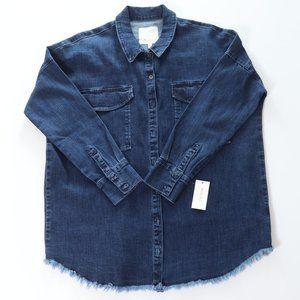 Ella Moss Audrey Fringe Hem Denim Box Shirt, M